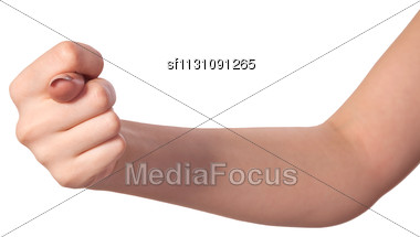 Hand Is Showing A Fig Sign Isolated On A White Background Stock Photo