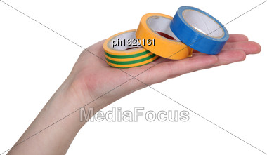 Hand Showing Rolls Of Adhesive Tape Stock Photo