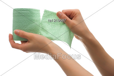 Hand Tears Off Green Toilet Paper Stock Photo