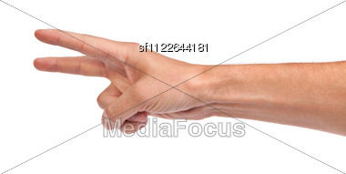 Hand With Two Fingers Up In The Peace Or Victory Symbol Also The Sign For The Letter V In Sign Language Stock Photo