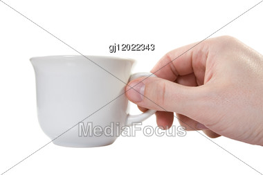 Hand With White Cup Stock Photo