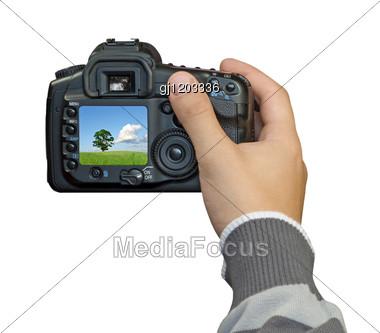 Hand With Digital Photo Camera Stock Photo