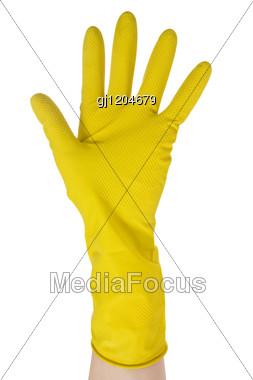 Hand In Yellow Glove Stock Photo