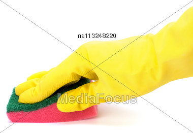 Hand In Yellow Glove With Sponge Isolated On White Background Stock Photo