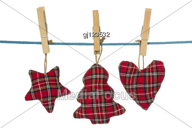 Handmade Christmas Decorations Hang On The Clothesline. Stock Photo