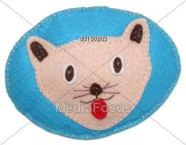 Handmade Toy From Felt - Cat Stock Photo