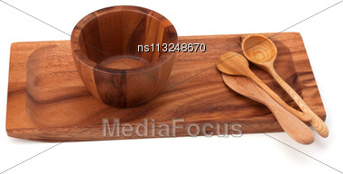 Handmade Wooden Kitchen Dishes Isolated On White Background Stock Photo