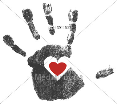 Handprint With Red Heart Symbol. Vector Stock Photo