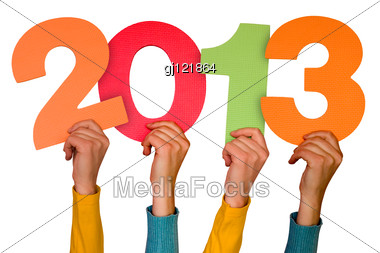 Hands With Color Numbers Shows Future Year 2013 Stock Photo