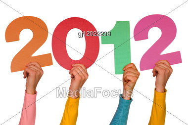 Hands With Color Numbers Shows Year 2012 Stock Photo