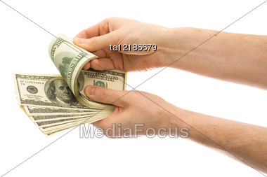 Hands Counting Money Stock Photo