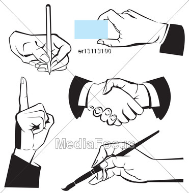 Hands - Different Gestures. Black And White Illustration Stock Photo