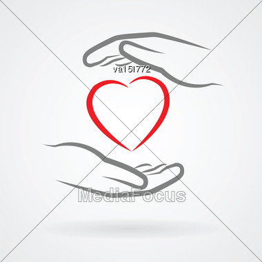 Hands With Heart Symbol Icon As Love Concept Vector Illustration Stock Photo