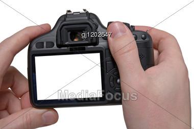 Hands Holding Digital Photo Camera Stock Photo