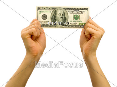 Hands Holding One Hundred Dollar Bill Stock Photo