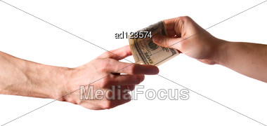 Hands And Money Banknote On White Stock Photo