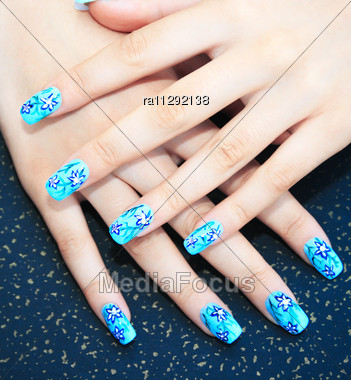 Stock Photo Hands Nail Art On Spotted Background Image Ra11292138