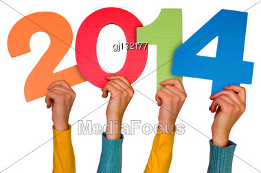 Hands With Numbers Shows Year 2014. Isolated On White Background Stock Photo