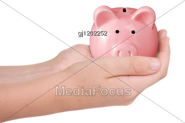 Hands With Piggy Bank Stock Photo