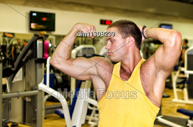 Handsome Bodybuilder Showing His Muscular Arms In Gym Stock Photo