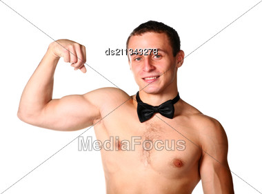 Handsome Guy Is Flexing Muscles On White Stock Photo