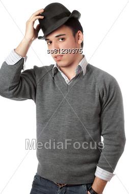 Handsome Man Wearing Black Hat. Stock Photo