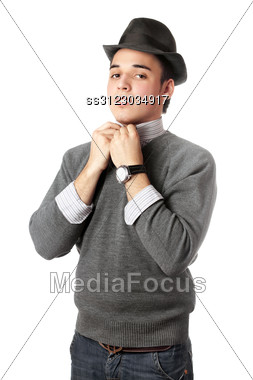 Handsome Young Man Wearing Black Hat. Stock Photo