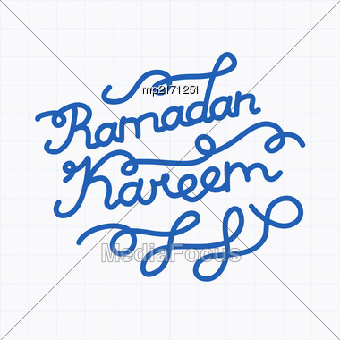 Handwritten Congratulation On Ramadan Kareem. Vector Illustration Stock Photo