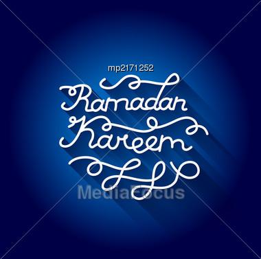 Handwritten Congratulation On Ramadan Kareem. Vector Illustration Stock Photo