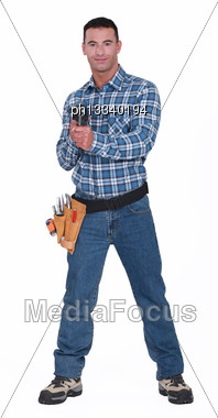 Handyman Holding A Cordless Powerdrill Stock Photo