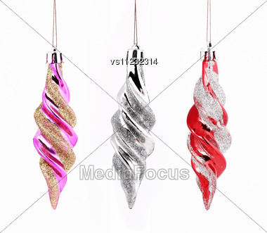 Hanging Christmas Ornaments Set Stock Photo