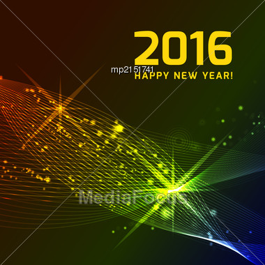Happy 2016 New Year Vector On Black Background Stock Photo