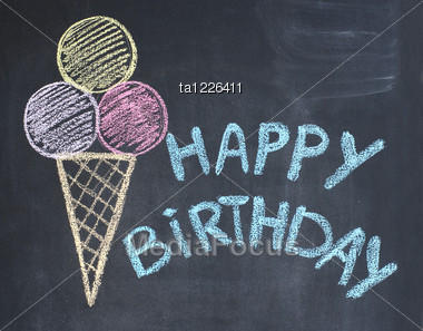 Happy Birthday Congratulation Written By A Chalk On A Blackboard Stock Photo