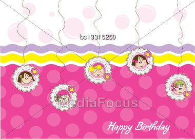 Happy Birthday Greeting Card With Five Little Girls Stock Photo