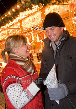 Happy Couple on Christmas Stock Photo