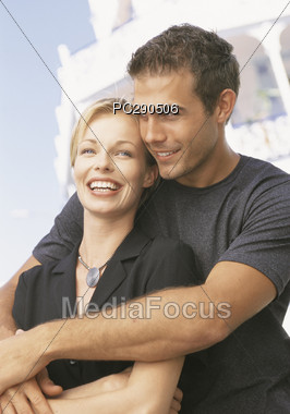 Happy Couple on Honeymoon Stock Photo