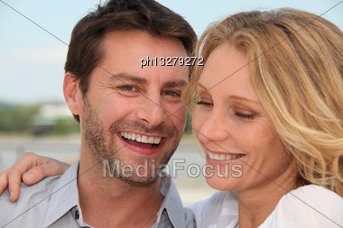 Happy Couple Outdoors Stock Photo