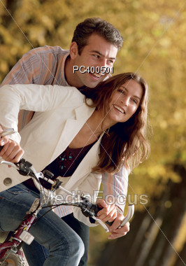 Stock Photo Happy Couple Riding Bikes Image Pc400501 Happy