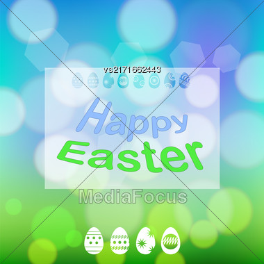 Happy Easter Banner. Easter Card On Spring Blurred Colorful Background Stock Photo