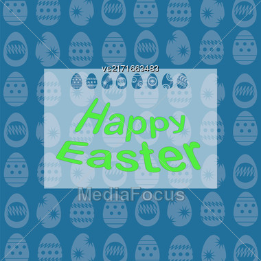 Happy Easter Banner. Easter Card On Spring Eggs Blue Background Stock Photo