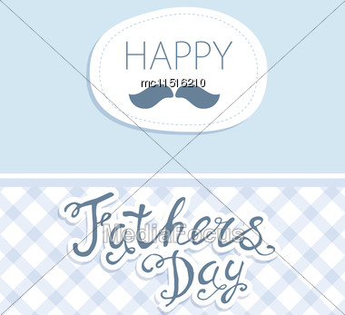 Happy Father's Day. Vector Card With Text On Seamless Anchor Pattern Stock Photo