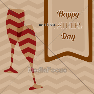 Happy Father's Day. Vector Card With Wine Glasses On Seamless Chevron Pattern Stock Photo
