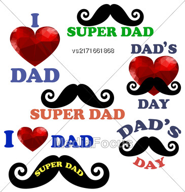 Happy Fathers Day Design Collection ISolated On White Background Stock Photo