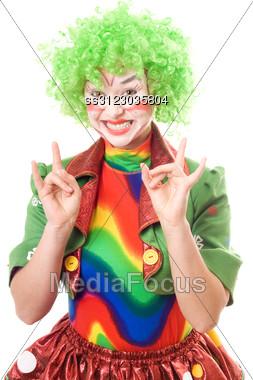 Happy Female Clown. Stock Photo
