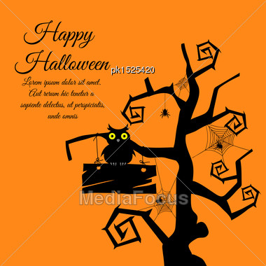 Happy Halloween Greeting Card. Elegant Design With Gothic Tree, Timber, Owl, Webs And Spiders Over Orange Background. Vector Illustration Stock Photo
