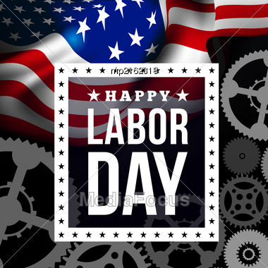 Happy Labor Day. Vector Illustration With USA Flag Stock Photo