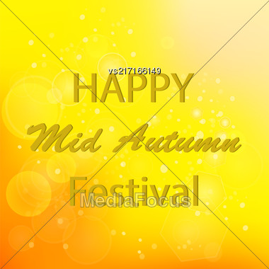 Happy Mid Autumn Modern Light Orange Backgound Stock Photo