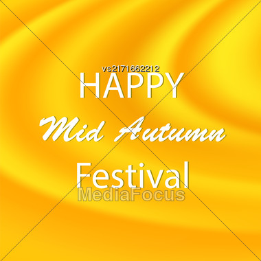 Happy Mid Autumn Modern Wave Yellow Backgound Stock Photo