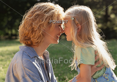 Happy Mother with Daughter Stock Photo