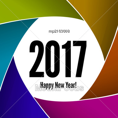 Happy New Year 2017 On A Background Of The Camera Lens. Vector Illustration Stock Photo